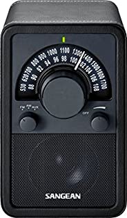 Sangean WR-15BK AM/FM Table Top Wooden Radio, Black Leatherette