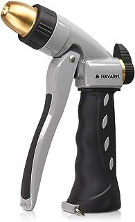 Navaris 花园软管喷嘴 – 高压金属水枪洒水器,带人体工程学触发器,适用于草坪、园艺、洗车、灌溉植物