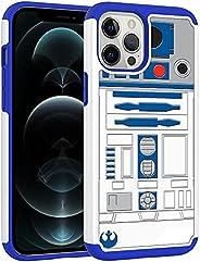 iPhone 12 Pro Max 手机壳,iphone12 Pro Max 手机壳,R2D2 Astromech 机器人图案减震硬 PC 和内部硅胶混合双层装甲防护手机壳,适用于 Apple iPhone 12 Pro