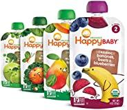 Happy Baby Organic 阶段2婴儿简单食品组合套餐,4盎司,113克,袋装(每套16个),各种口味,不同的口味