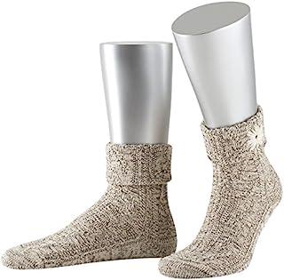 Lusana 男士翻边袜带刺绣珍贵白色传统长筒袜