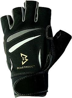 Marshawn Lynch 官方手套 Beast Mode 男士无指健身运动健身手套 自然贴合技术,黑色 (PAIR)