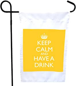 Rikki Knight Keep Calm and Have a Drink - Yellow House or Garden Flag 字样,27.94 x 27.94 cm 图片,30.48 x 45.72 cm