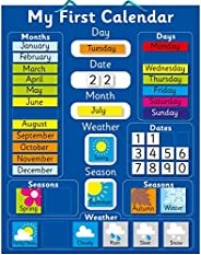 """Magnetic My First Learning Calendar - Blue Rigid board 16"""" x 13"""" (40 x 32cm) with hanging loop (Desi"""