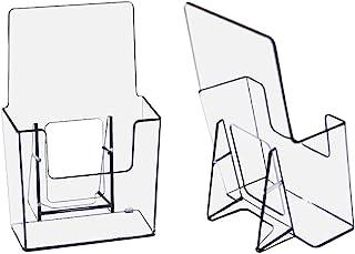 2 件装 - 透明亚克力宣传册架,4x9 英寸(约 10.2x22.9 厘米)塑料文献架,亚克力台面收纳架传单架(标准)