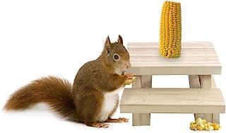 Nature's Hangout 松鼠喂食器 适用于外桌风格 - 环保木质松鼠喂食器 适用于室外放置玉米和苹果 - 松鼠喂食器挂在树篱柱上