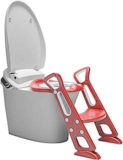 Olele 坐便训练座椅 带踏凳梯子 儿童厕所训练座椅 幼儿马桶坐垫 可折叠*手柄防滑垫 踏凳 训练座椅 便盆 便盆 楼梯 (红色)