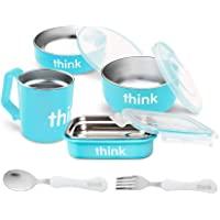 完全不含 BPA 的喂食套装,带叉子和勺子 - 浅蓝色