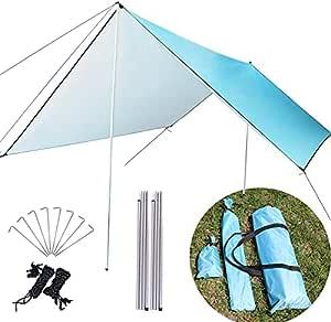 MEDOO 野营防水布带杆 - 25.40 x 25.40 厘米厚吊床防雨防水帐篷防水布 - 适合露营者的完美吊床配件 - 防紫外线 - 蓝色