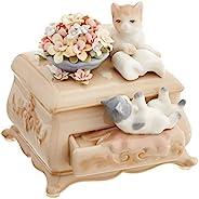 Cosmos 80043 细瓷猫咪和梳妆台音乐雕像,4-1/2 英寸