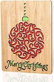 """圣诞快乐卡片/礼品:手工制作真竹节快乐节日贺卡。 充满活力的节日设计。 非常适合向丈夫、妻子、父母、她、朋友和家人送圣诞节或季节的问候 L 5.90"""" X W 4.33"""" X H"""