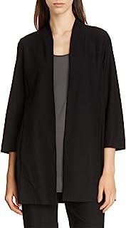 Eileen Fisher 开放式七分袖轻质弹力绉纱夹克,黑色 XXS 码