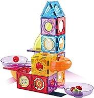 3D 磁性积木 79 片磁性大理石轨道积木套装 STEM 学习*玩具礼物 适合 3 4 5 6 7 8 岁儿童 (79 片装)