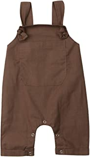 女婴男孩天鹅绒背带裤纯色连身衣背带裤背带裤连体裤春秋季服装