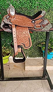 Deen, Enterprises 银色真皮牛皮西式快感秀马鞍,自由搭配的头枕,乳房领,芦苇尺寸 35.56 厘米座椅可选