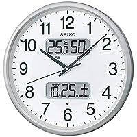 Seiko 精工 挂钟 02:银色金属 01:直径35厘米 无线电波模拟 日历温度/湿度显示 BC405S