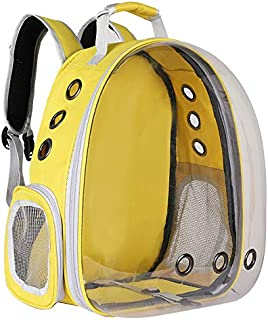 XingCHi Create 宠物背带、猫/狗泡泡背包、宠物旅行包、小空间宠物胶囊背包、航空公司认可透气透明胶囊背包,适合远足和户外使用 (黄色)