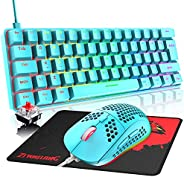 游戏键盘和鼠标,3 合 1 彩虹 LED 背光有线机械键盘红色开关,RGB 6400 DPI 轻质游戏鼠标,带蜂窝外壳,适用于电脑游戏玩家