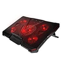 简约豪华笔记本电脑冷却垫适用于 12-17 英寸(约 30.5 - 43.2 厘米),配有 5 个超静音高速风扇,2 个 USB 端口,便携式 7 级可调节支架,提高 PC 性能和使用寿命