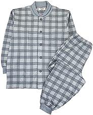 [郡是]男士睡衣 (领口温暖肩部保暖) 长袖长裤软棉/发热针织纱布 男士