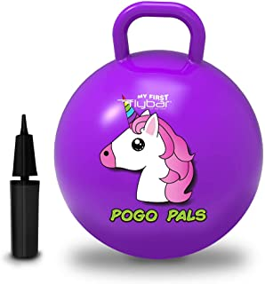Flybar My First Pogo Pals 儿童摇铃球 - 带手柄的弹性球,儿童平衡球,适合 3 岁及以上儿童使用,包括气泵 大 独角兽紫色