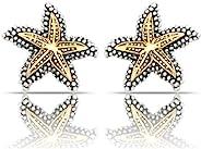 JanKuo Jewelry 双色金银复古风格海星夹式耳环