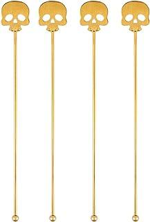 BESTOYARD 4 件套骷髅搅拌棒不锈钢Swizzle棒可重复使用搅拌棒适用于万圣节派对家庭酒吧(金色)