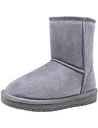 VEPOSE 女式皮革麂皮靴短踝保暖冬季雪地靴