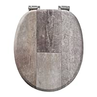 Tiger 老木马桶座圈 马桶座圈 自动关合和柔软触感 木头 颜色:棕色复古 金属固定