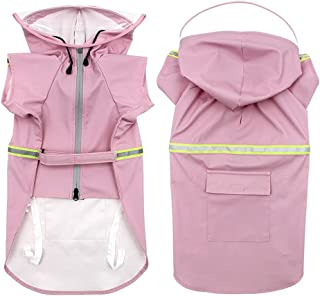 Sunmuxier 狗狗雨衣可调节宠物防雨夹克中大型犬服装带发光条纹(粉红色,XXXL 码)