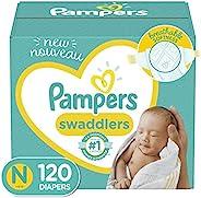 婴儿尿布新生儿/尺码 0(< 10 磅),120 片 - 帮宝适襁褓,大包装可能有所