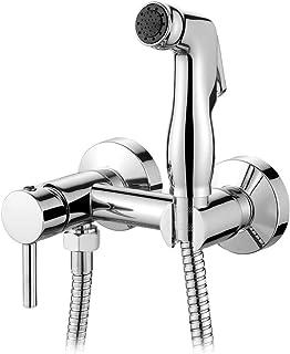 Ibergrif M22012 壁挂式马桶 手持花洒套装 带双圈和支架,软管,温暖和冷水,铬,银色