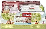 Huggies 新生儿礼盒 - Little Snugglers 尿布(新生儿尺寸 24 克拉,尺寸 1 32 克拉),天然护理无香型婴儿湿巾(共96 克拉),Johnson 洗发水和婴儿乳液(包装可能不同)