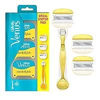 Gillette Venus ComfortGlide 女士二合一剃刀 + 3 个替换刀片 剃须凝胶棒入门套装