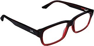 Spectre * 1 版 - 游戏眼镜,蓝光防护,耐用醋酸纤维框架,水晶透明镜片,超细纤维袋,硬壳盒,方形眼镜框 - 红色