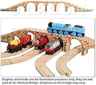 Orbrium Toys 6 拱门高架桥,适用于木质铁路轨道,适合托马斯火车 Brio 套装