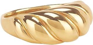 VLINRAS 18k 金角面圆顶图章戒指女式极简主义扭曲粗戒指
