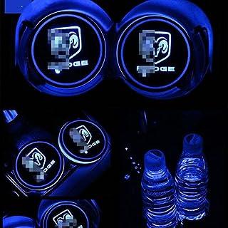 ZhengRong 汽车标志 LED 杯垫 LED 杯垫 USB 充电垫 发光杯垫 LED 垫室内大气灯装饰灯(DODGE)