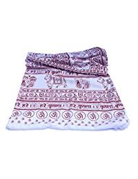 冥想瑜伽祈祷披肩 - Maha Mantra - 白色 L 码