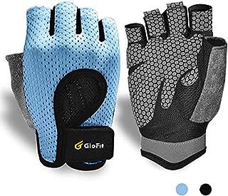 透气锻炼手套,指关节举重无指健身锻炼手套,带弧形露背,适用于举重、Crossfit 女士和男式
