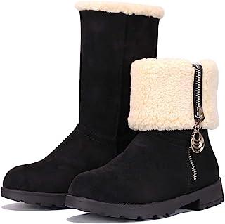 MUYGUAY 女童冬季雪地靴麂皮折叠中筒毛衬里保暖拉链靴,适合幼儿/小童/大童