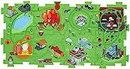 IDEAS IN LIFE 拼图轨道玩具套装 - 电池驱动玩具车和地板拼图游戏垫 - 16 片套装 - 不同主题可选 - 车辆跑在轨道上 - 可互换 - 创造多达 50 种组合 - 适合学龄前儿童