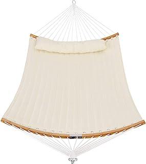 庭院看守者绗缝织物吊床带枕头,双吊床可折叠纯色竹制弧形吊杆,非常适合户外庭院院院院院 B-QH011-White
