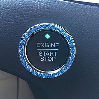汽车装饰闪亮戒指汽车配件水晶水钻用于自动启动停止发动机点火按钮,点火钥匙和仪表板旋钮适用于汽车和卡车钻石戒指徽章(2X 蓝色)