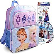 Disney 冰雪奇缘安娜和艾尔莎女孩背包套装 ~ 16 英寸(约 40.6 厘米)冰雪奇缘书包,带贴纸和一次性三明治袋 | 儿童急救学校用品套装