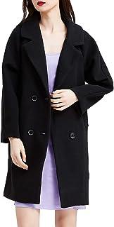 URLAZH 女式双排扣风衣修身长袖中长大衣