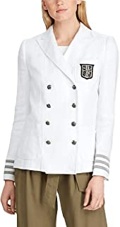 LAUREN RALPH LAUREN * 亚麻军装风格西装外套尺码 10 白色