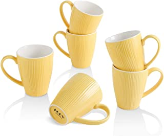 KOOV 咖啡杯,18 盎司(约 510.3 克)大号咖啡杯6 件套,适用于卡布奇诺、拿铁、可可、条纹系列(黄色)
