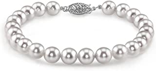 THE PEARL SOURCE 14K 金 5.5-6mm 圆形白色日本 Akoya 海水养殖珍珠女士手链