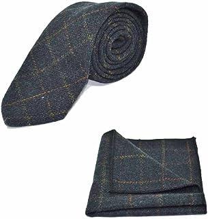 传统格子*蓝领带和口袋方形套装 - 花呢,格子乡村风格
